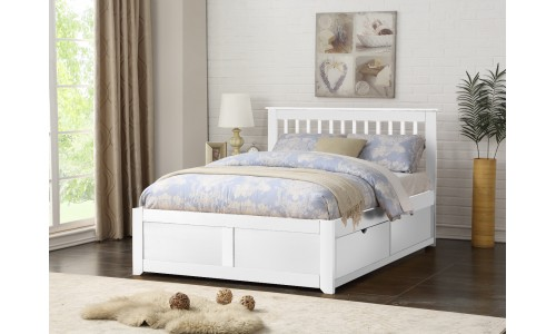 Pentre White Two Drawers Bed Frame