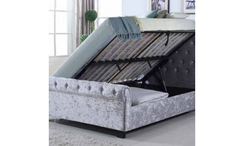 Whitford Crushed Silver Ottoman Bed
